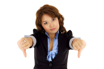 business woman thumbs down